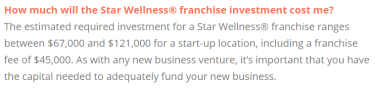 star wellness franchise investment