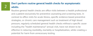 choosing wisely checkups
